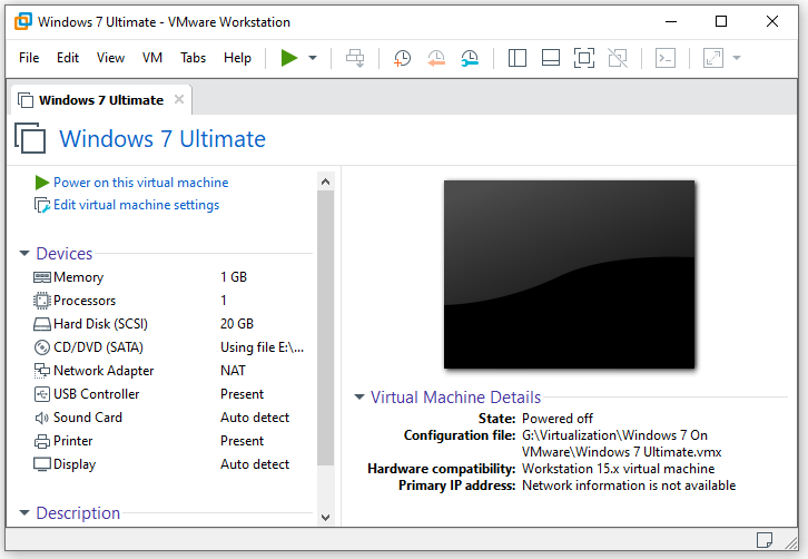 Power on virtual machine