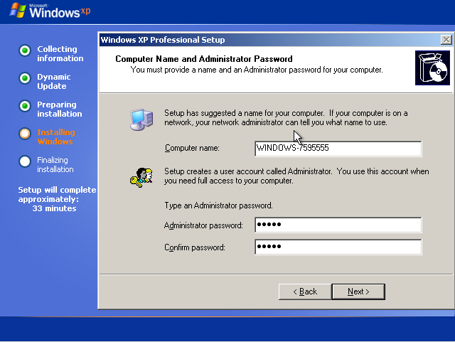Computer name and password