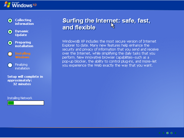 Completing windows XP installation