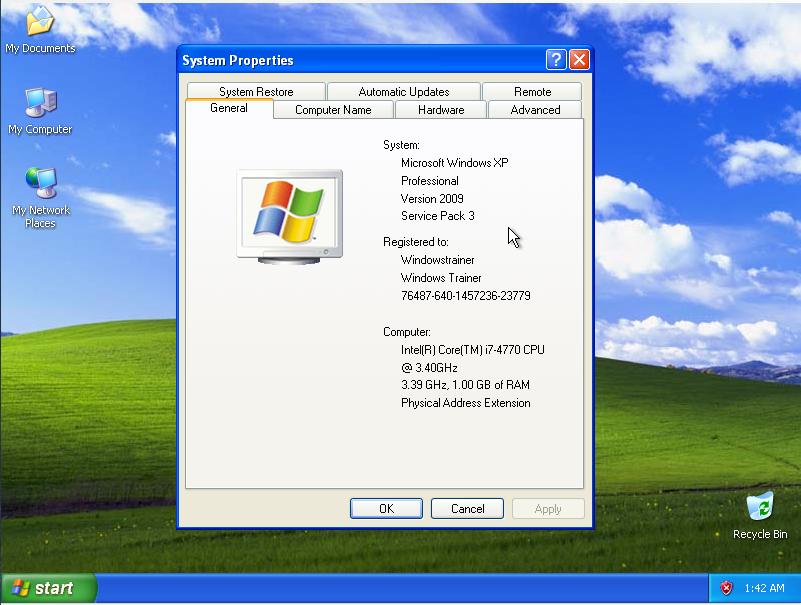 Windows XP System Properties on Hyper-V