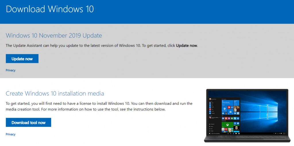 Select Windows 10 installation media tool