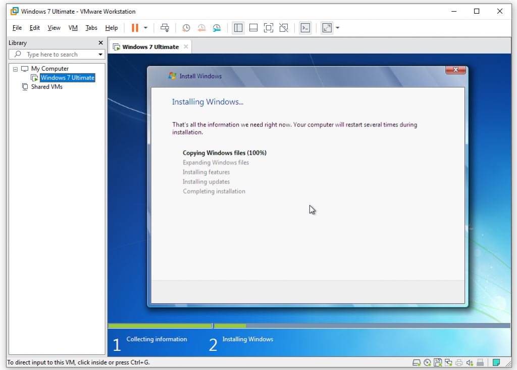 installing windows 7 on vmware