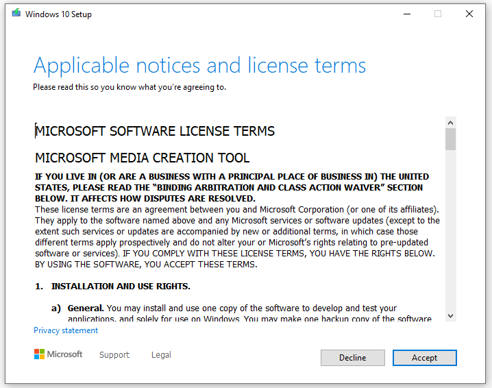 Microsoft License terms agreement
