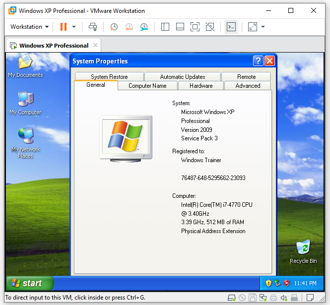 Windows XP system properties on VMware