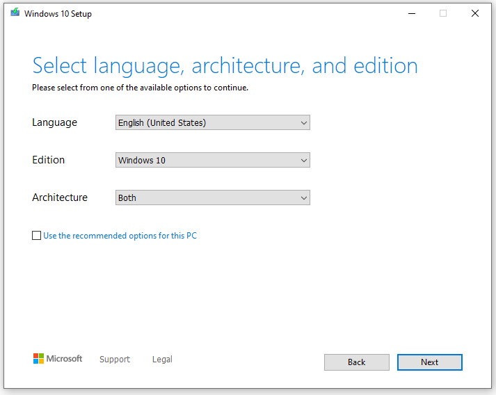 Select Language, Architecture and edition of windows