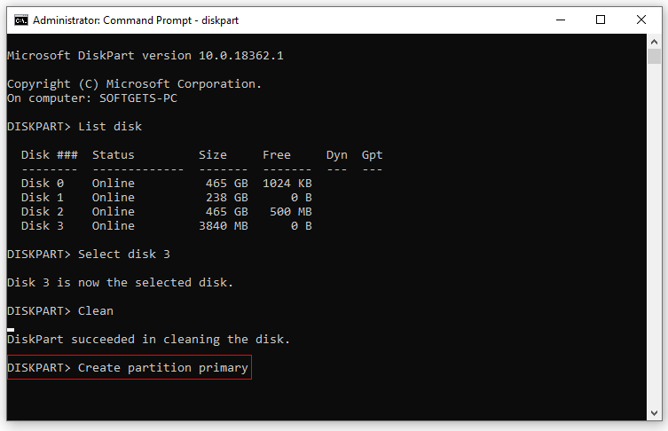 How to make a bootable USB flash Drive : Create partition Primary