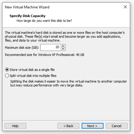 Specify Virtual Machine Disk size
