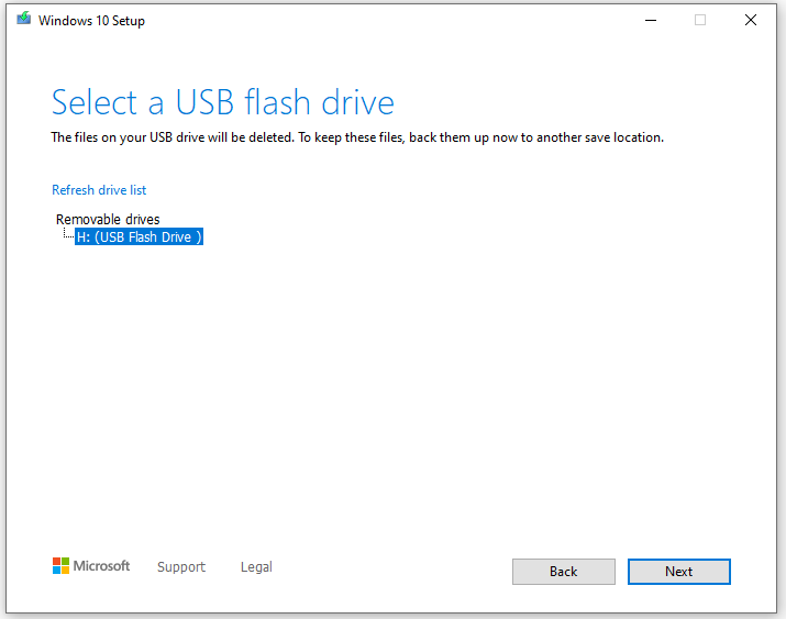 Selecting the USB drive to download Windows into