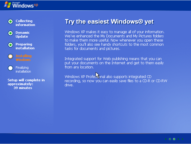 Finalizing windows XP installation