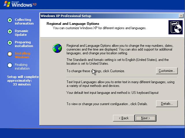 Regional and Language option