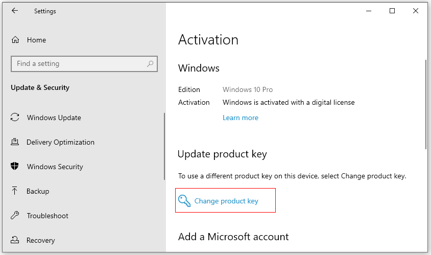 change Windows 10 Product key
