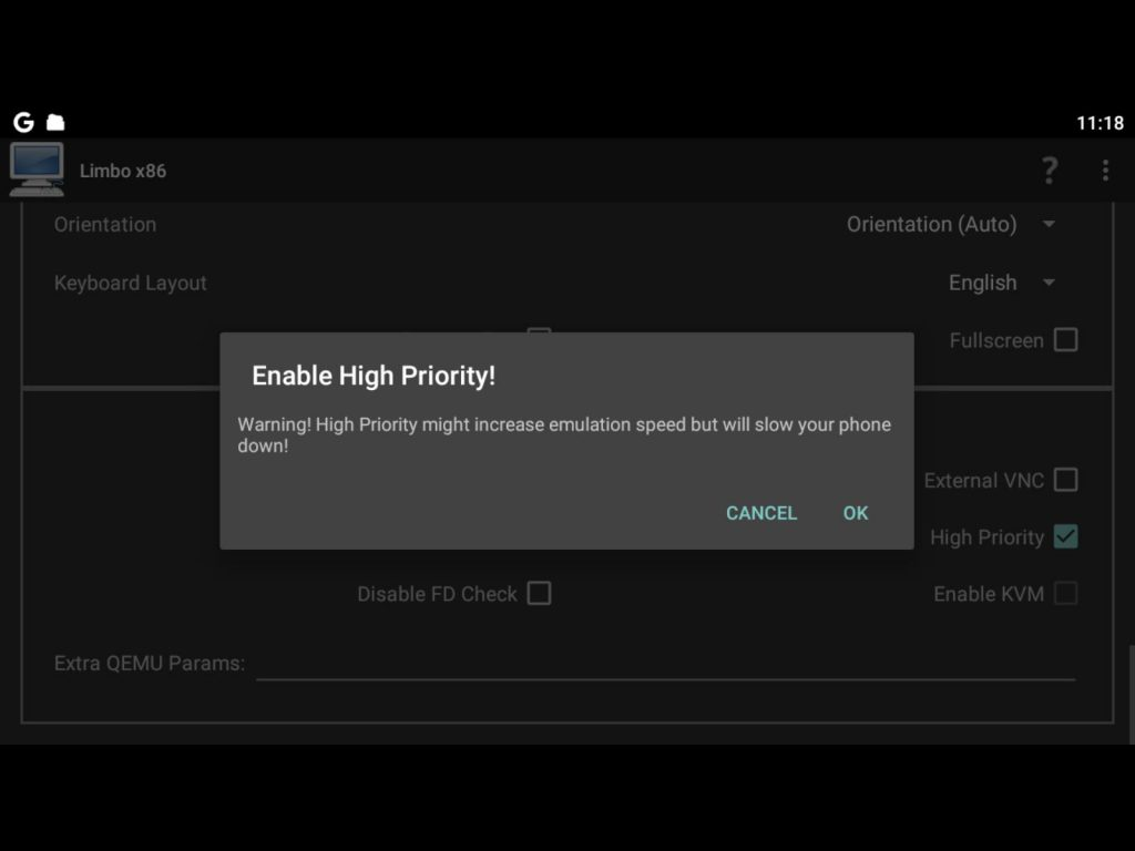Enable High Priority