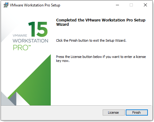 VMware workstation Installation completed