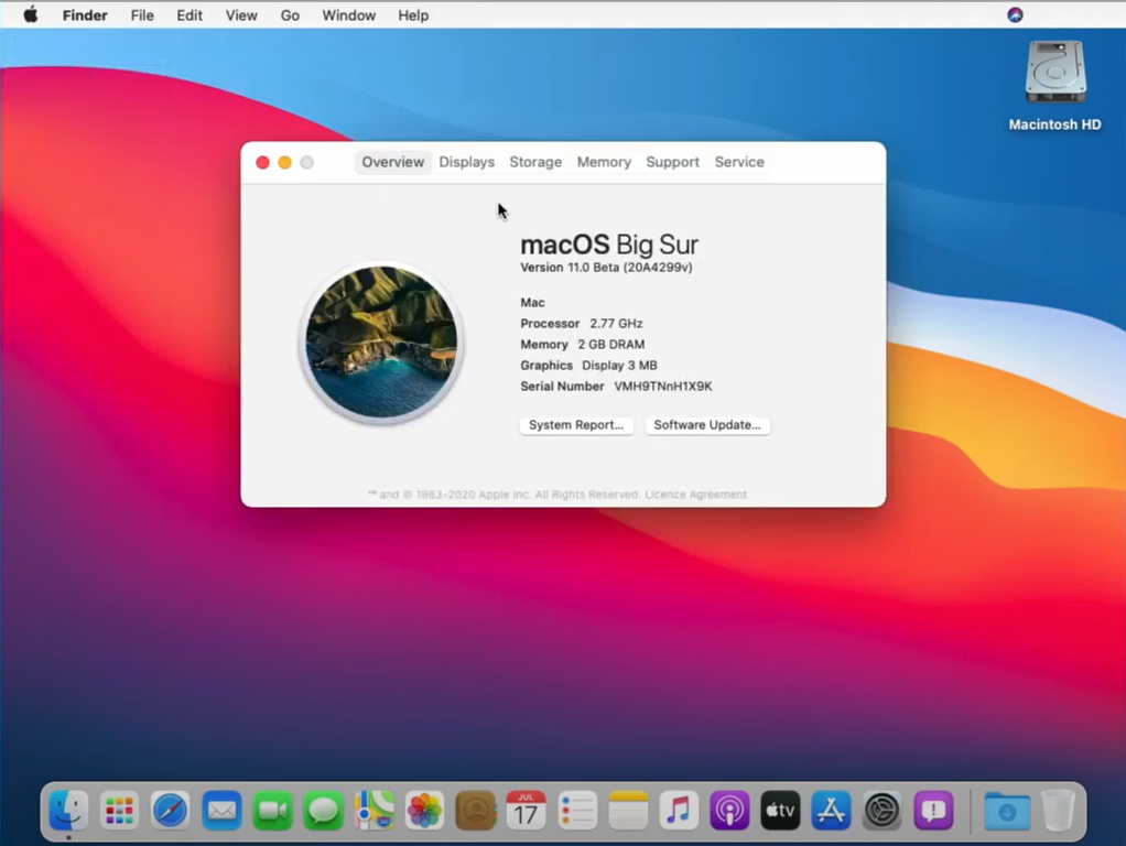 macOS Big Sur beta installed