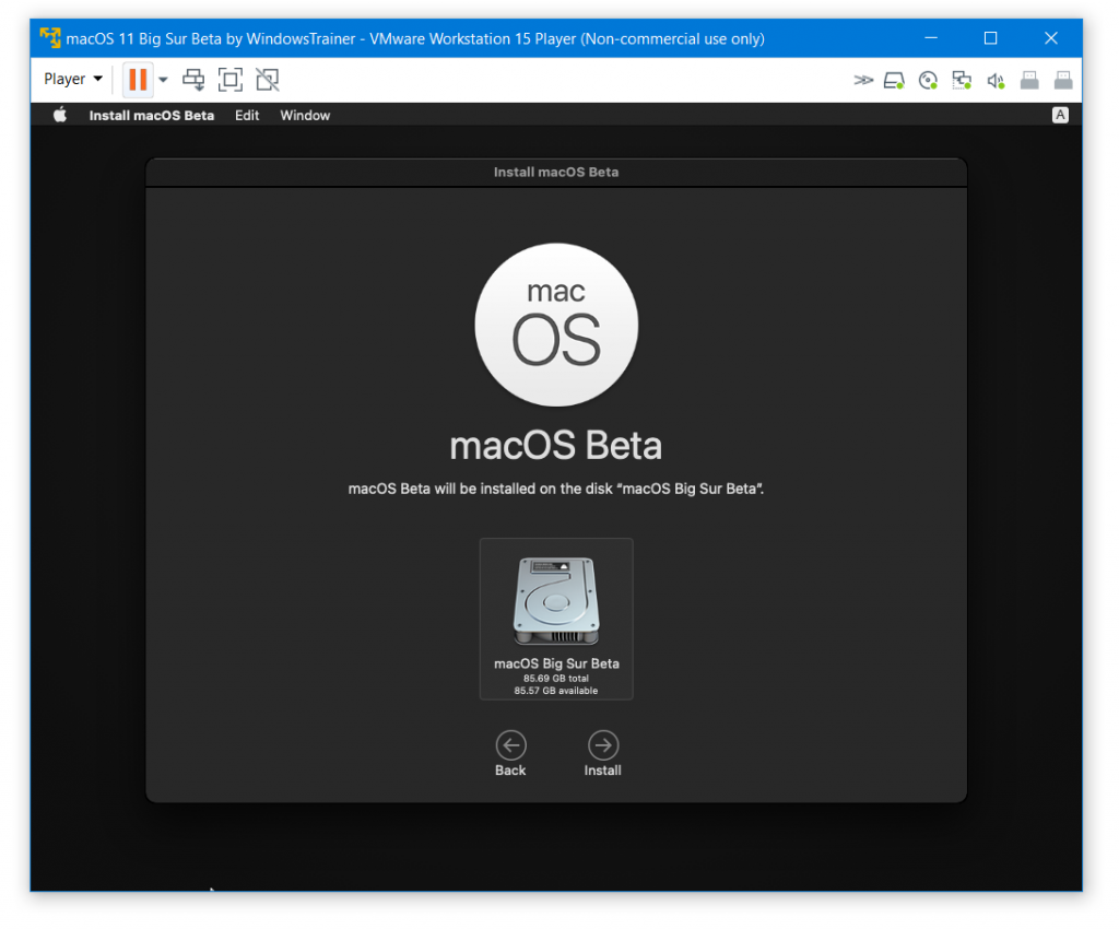 Select Disk to install macOS