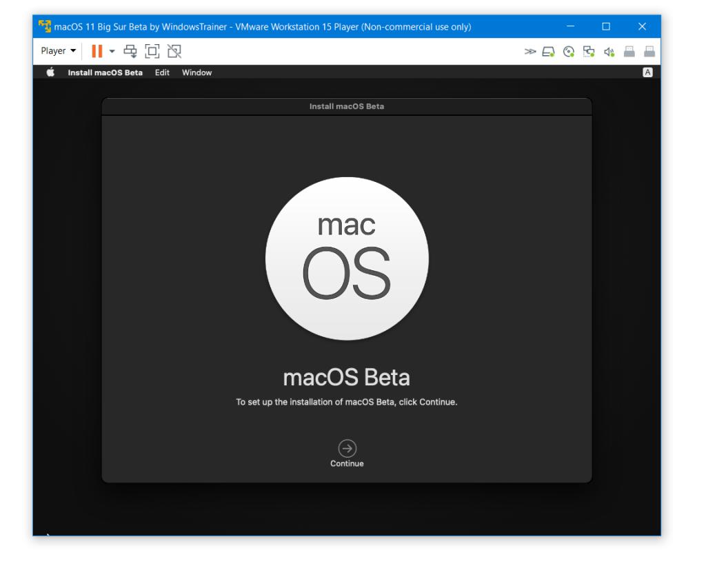 Continue with macOS Big Sur Installation
