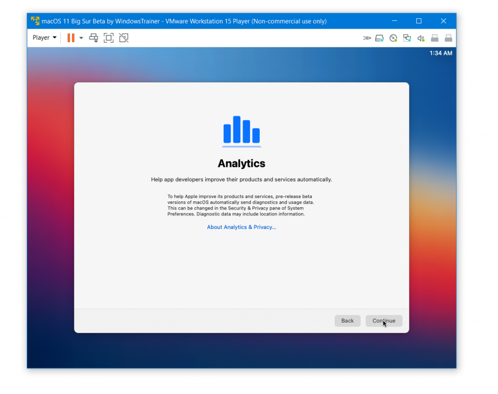 macOS X Analytics page