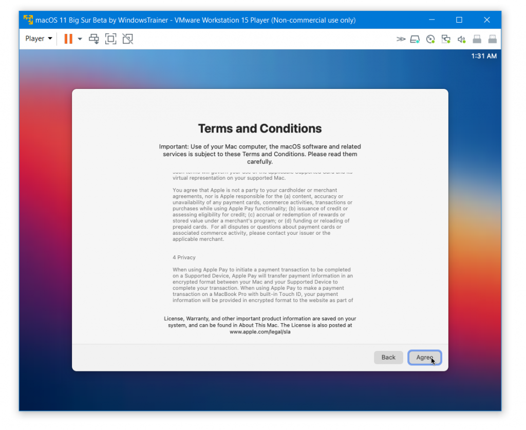macOS X terms and Conditions